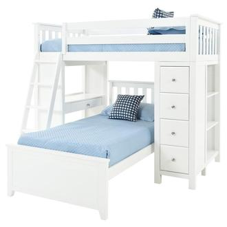 Haus White Twin Over Twin Bunk Bed w/Desk & Chest