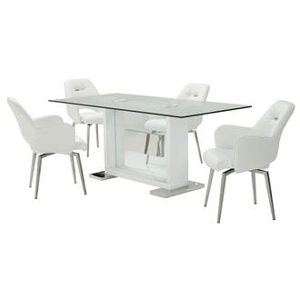 Finley White 5-Piece Formal Dining Set