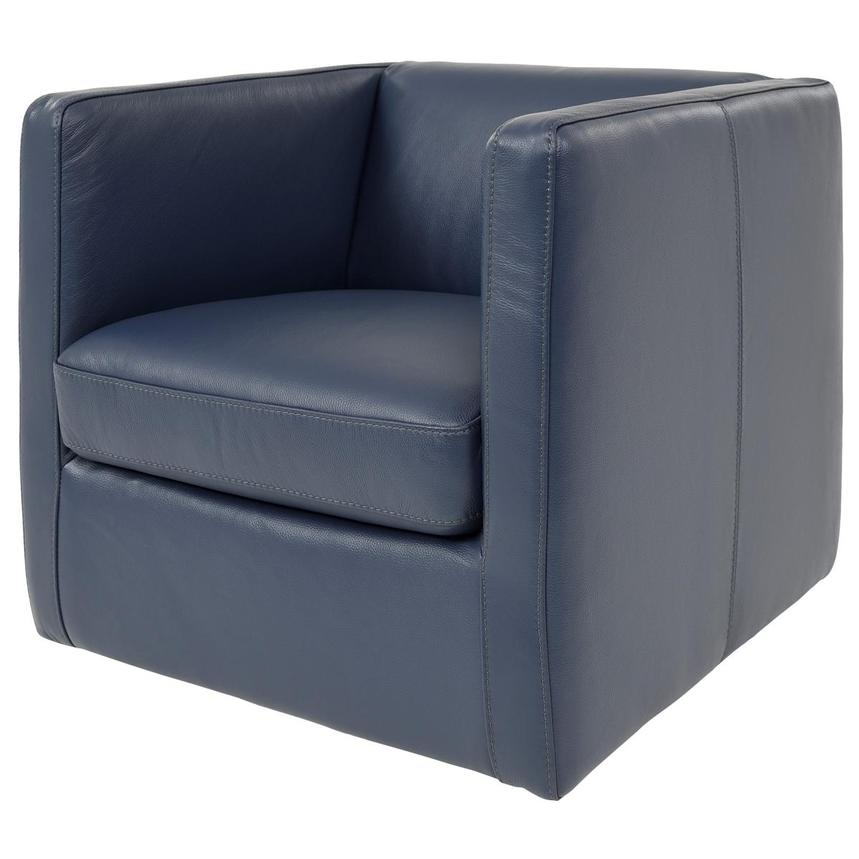 Cute Blue Leather Swivel Chair  alternate image, 2 of 6 images.