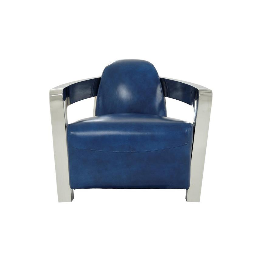 Aviator II Blue Leather Accent Chair  main image, 1 of 9 images.