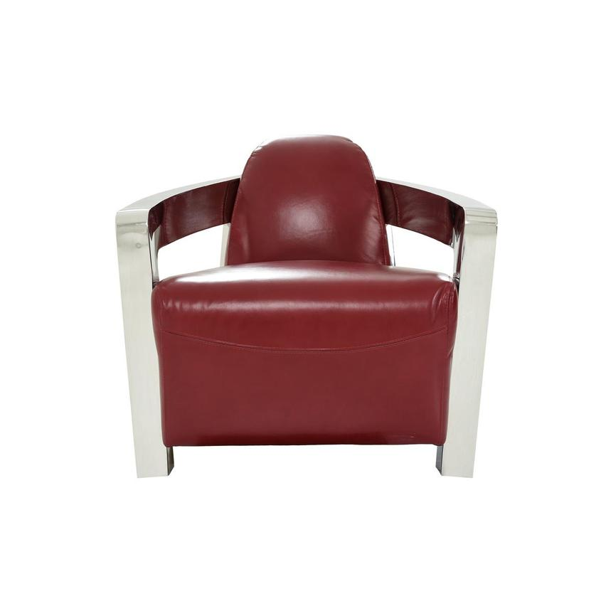 Aviator II Red Leather Accent Chair  main image, 1 of 8 images.