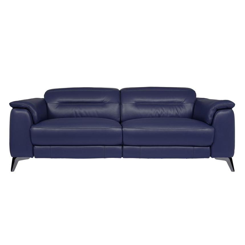 Anabel Blue Leather Power Reclining Sofa  main image, 1 of 12 images.