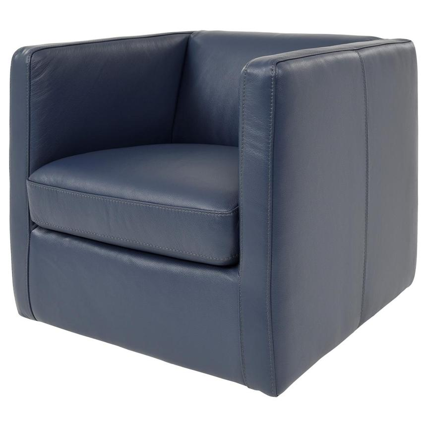Cute Blue Leather Swivel Chair  alternate image, 2 of 8 images.