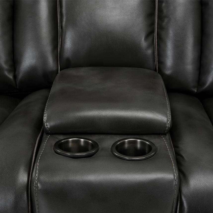 Pronto Gray Power Reclining Sofa w/Console  alternate image, 10 of 11 images.
