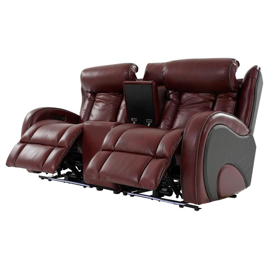 Pronto Red Power Reclining Sofa w/Console  alternate image, 3 of 12 images.