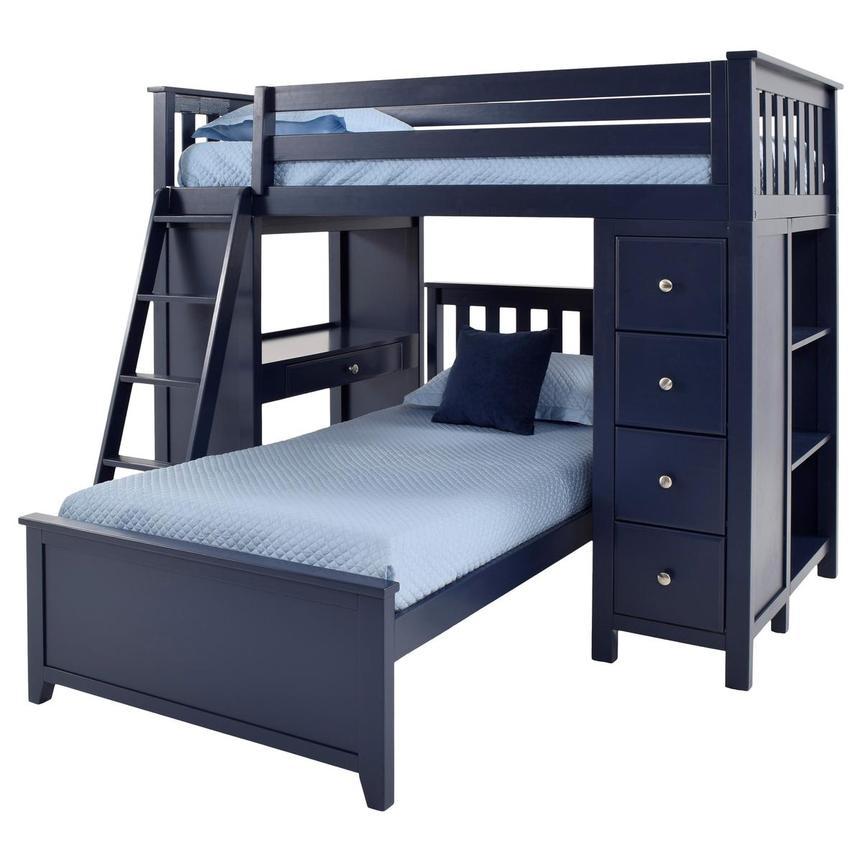 Haus Blue Twin Over Twin Bunk Bed W Desk Chest El Dorado Furniture
