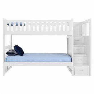 Balto White Twin Over Twin Bunk Bed w/Storage