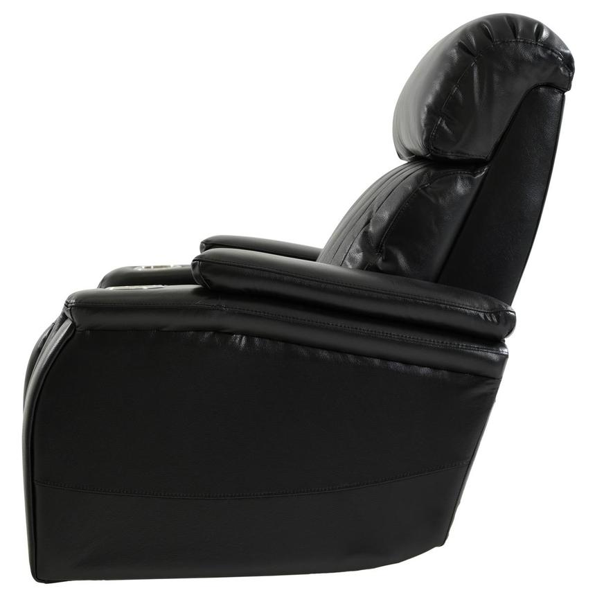 Obsidian Leather Power Recliner w/Massage & Heat  alternate image, 4 of 13 images.