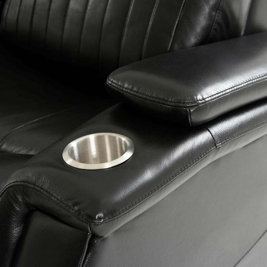 Obsidian Leather Power Recliner w/Massage & Heat  alternate image, 9 of 13 images.