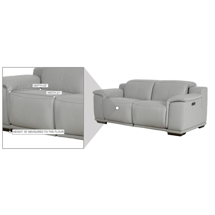 Davis 2.0 Light Gray Leather Power Reclining Loveseat  alternate image, 10 of 10 images.