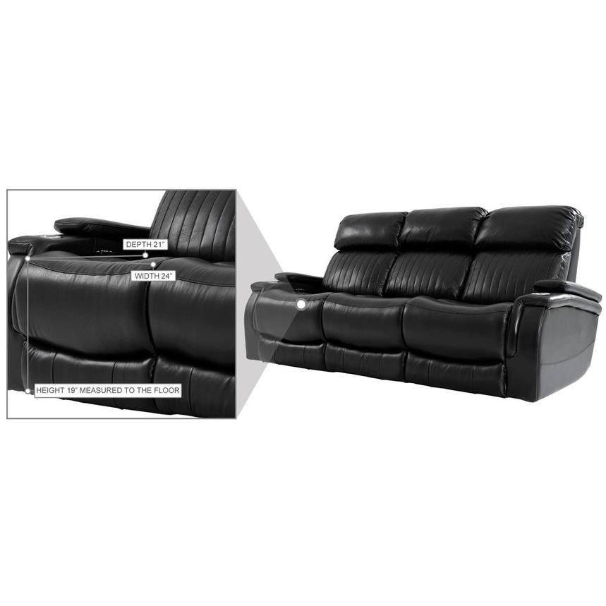 Obsidian Leather Power Reclining Sofa w/Massage & Heat  alternate image, 15 of 15 images.