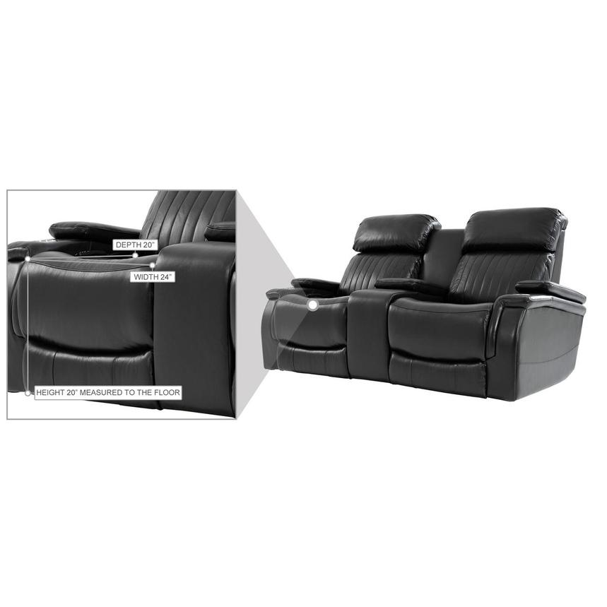 Obsidian Leather Power Reclining Sofa w/Massage & Heat  alternate image, 14 of 15 images.
