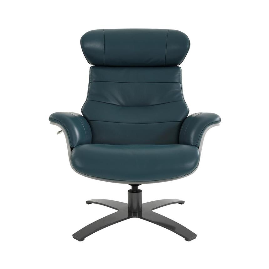 Enzo Green Leather Swivel Chair  main image, 1 of 13 images.