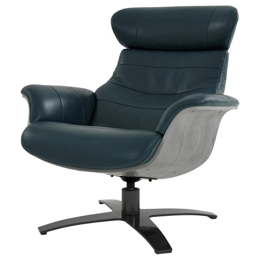 Enzo Green Leather Swivel Chair  alternate image, 4 of 12 images.