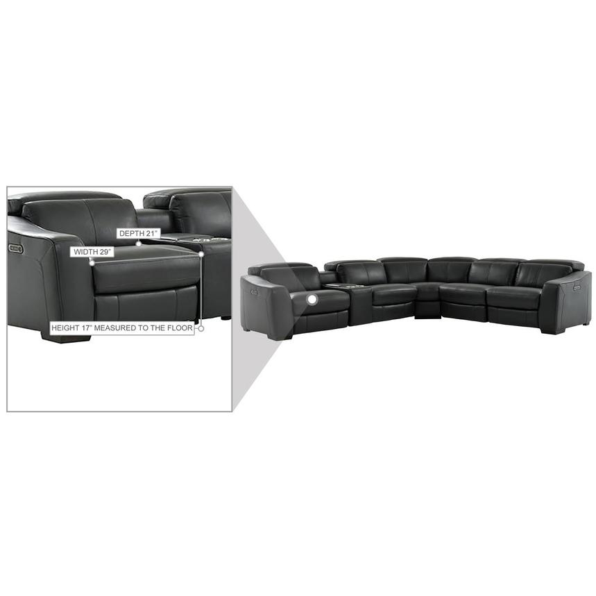 Jay Dark Gray Leather Power Reclining Sectional  alternate image, 10 of 10 images.