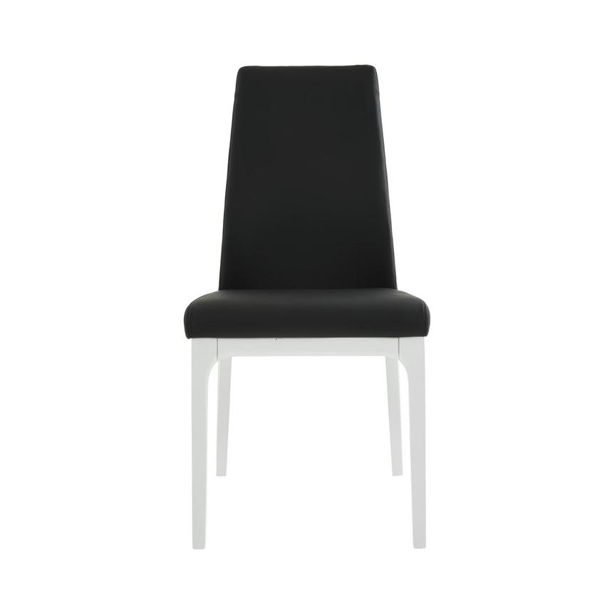 Valencia White/Black Leather Side Chair  main image, 1 of 6 images.