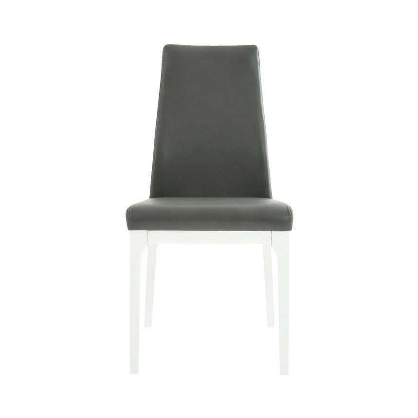 Valencia White/Gray Leather Side Chair  main image, 1 of 6 images.