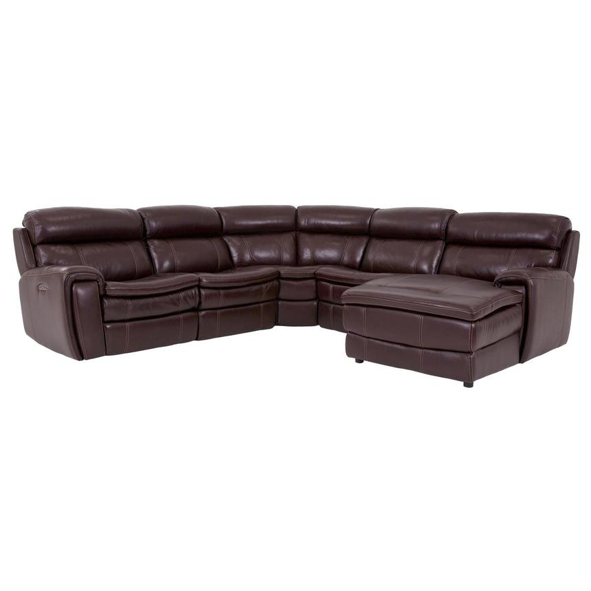 Napa Burgundy Leather Power Reclining Sectional w/Right Chaise  main image, 1 of 7 images.