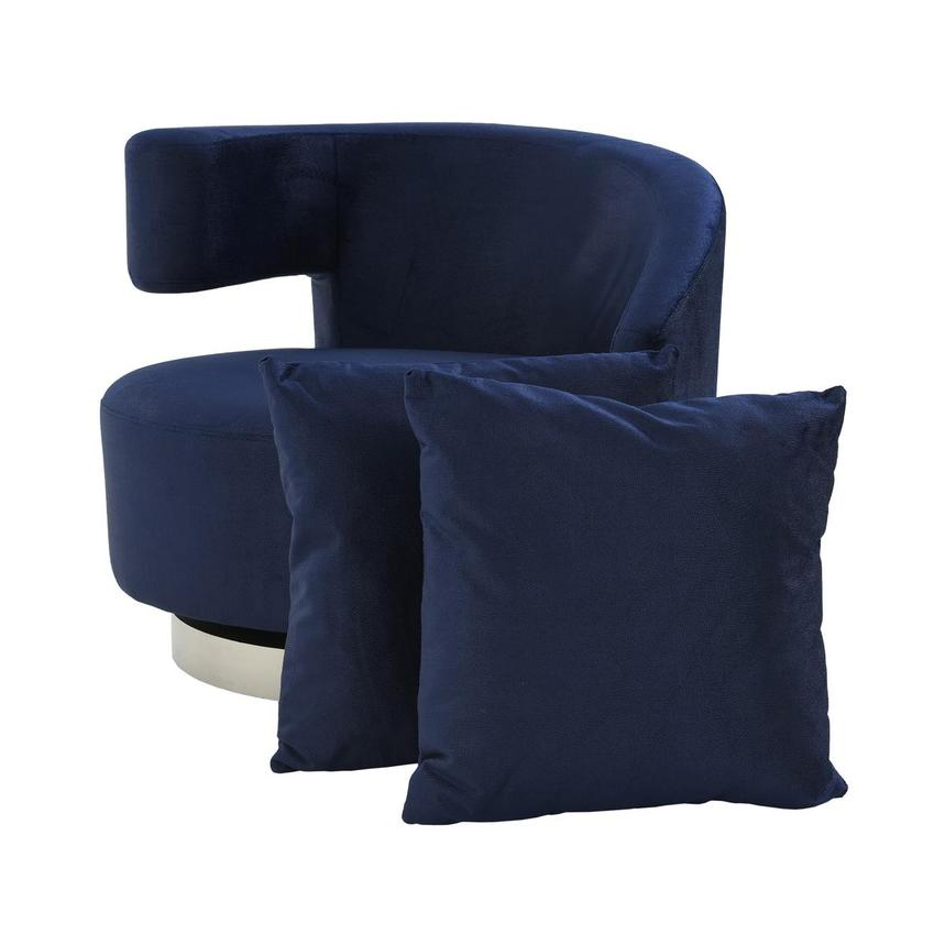 Okru II Dark Blue Swivel Chair w/2 Pillows  main image, 1 of 11 images.