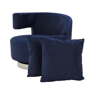 Okru Dark Blue Swivel Chair w/2 Pillows