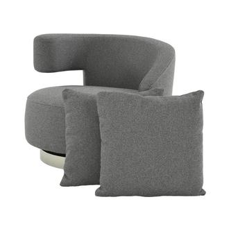 Okru Dark Gray Swivel Chair w/2 Pillows