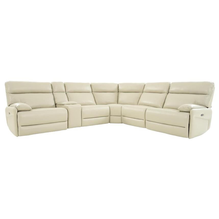 Benz Cream Leather Power Reclining Sectional  main image, 1 of 12 images.