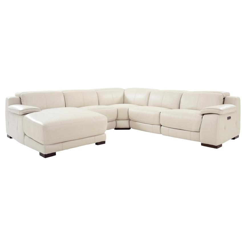 Gian Marco Cream Leather Power Reclining Sectional w/Left Chaise  main image, 1 of 10 images.