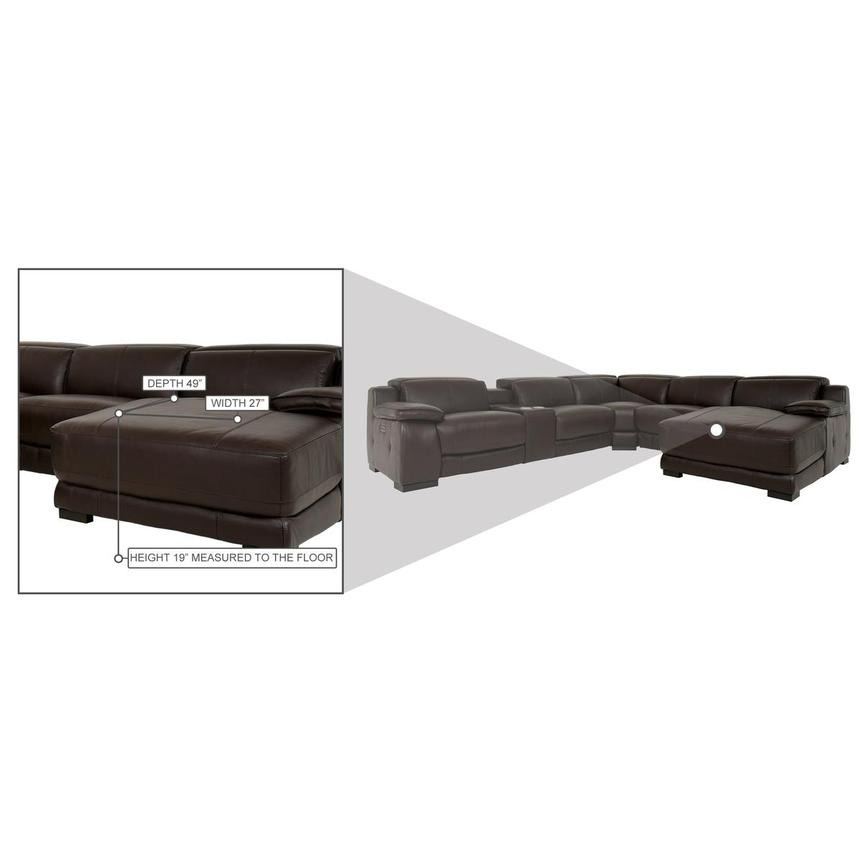 Gian Marco Dark Brown Leather Power Reclining Sectional w/Right Chaise  alternate image, 9 of 9 images.