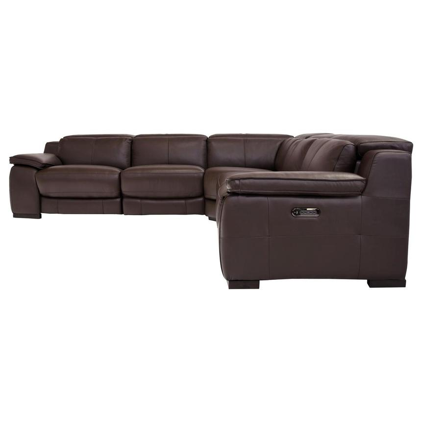 Gian Marco Dark Brown Leather Power Reclining Sectional  alternate image, 3 of 8 images.