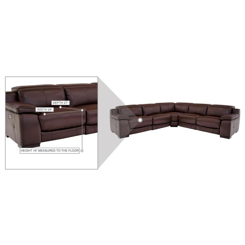Gian Marco Dark Brown Leather Power Reclining Sectional  alternate image, 8 of 8 images.