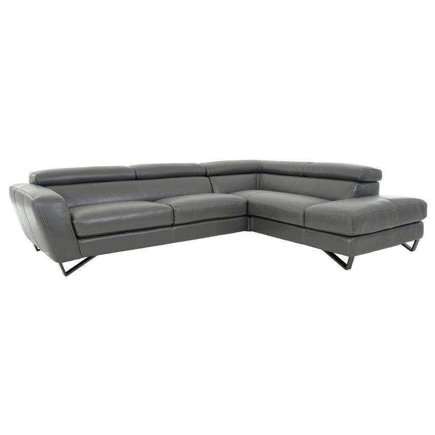 Sparta Gray Leather Corner Sofa w/Right Chaise  main image, 1 of 12 images.