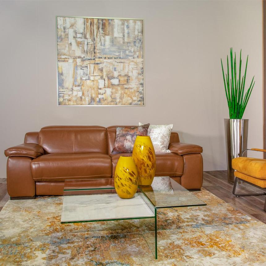 Gian Marco Tan Leather Power Reclining Sectional w/Left Chaise  alternate image, 2 of 9 images.