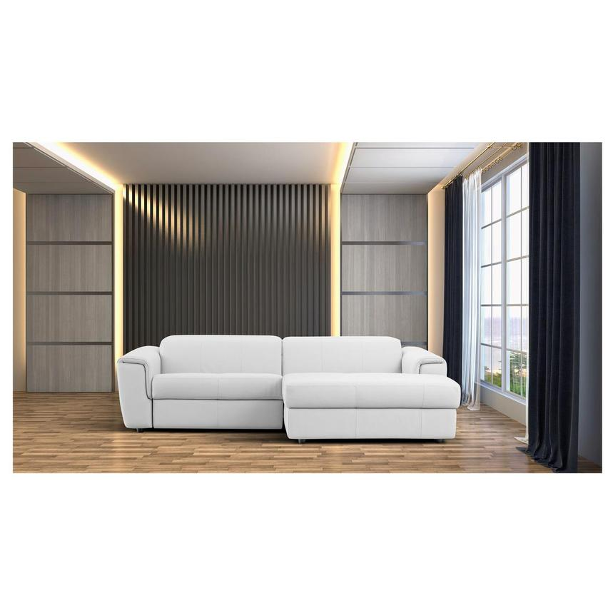 Sofextra White Leather Power Reclining Sofa w/Right Chaise  alternate image, 2 of 16 images.