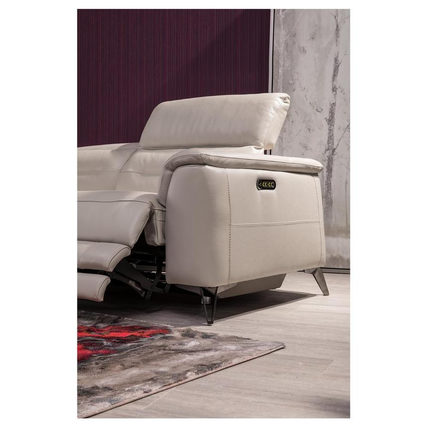 Anabel Cream Leather Power Reclining Loveseat  alternate image, 5 of 17 images.