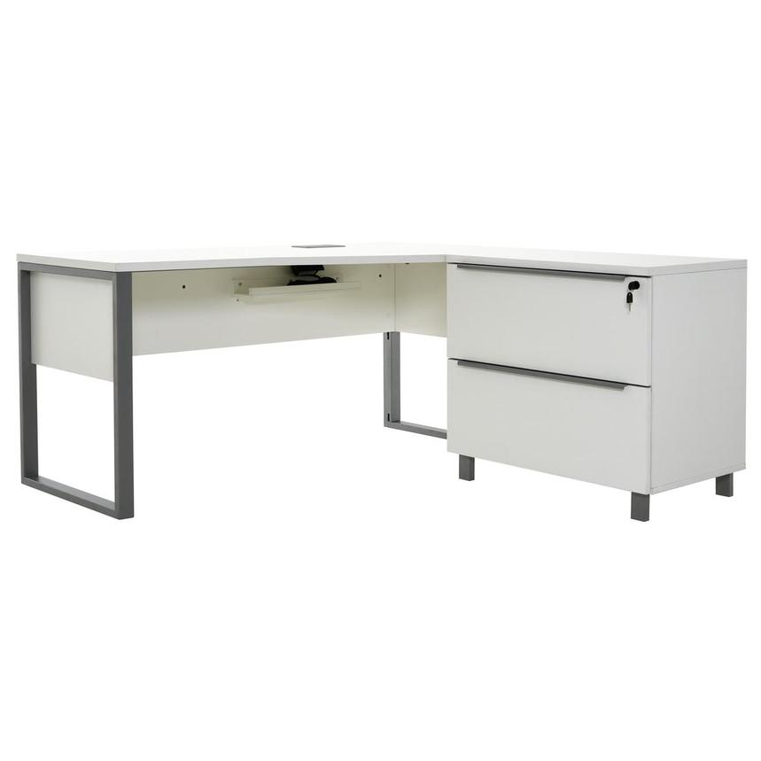 Flavia White L-Shaped Desk  main image, 1 of 11 images.