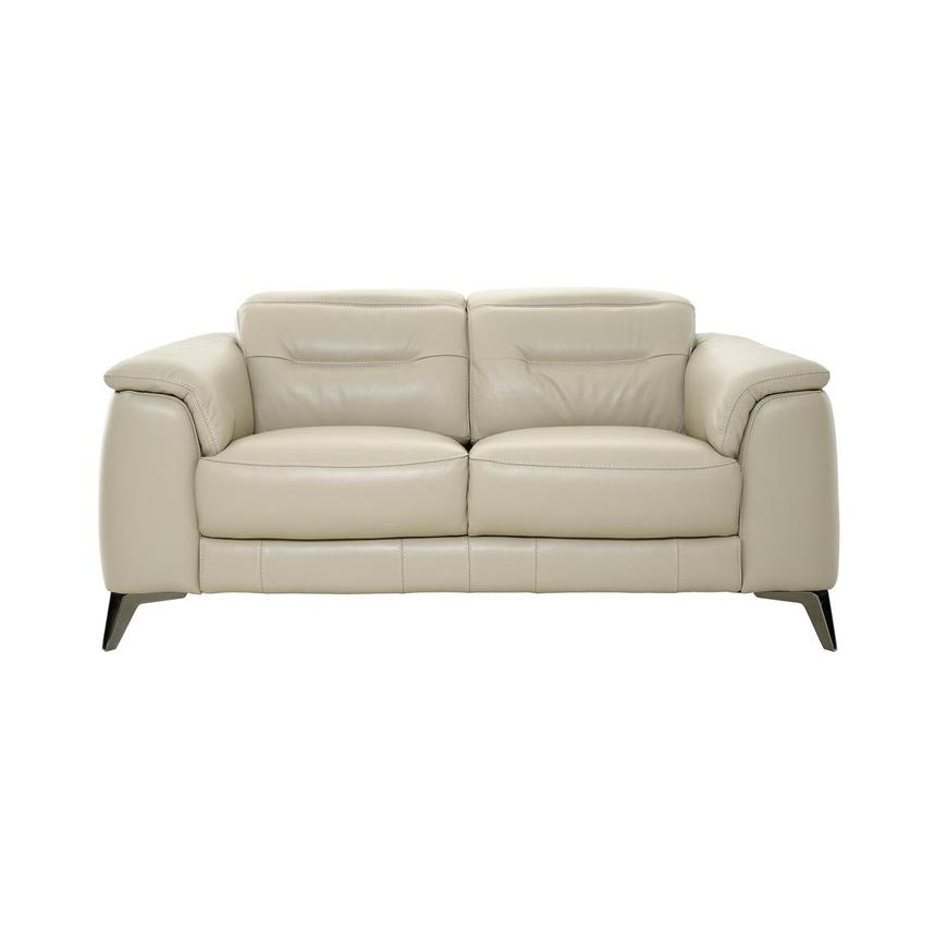 Anabel Cream Leather Loveseat  main image, 1 of 11 images.