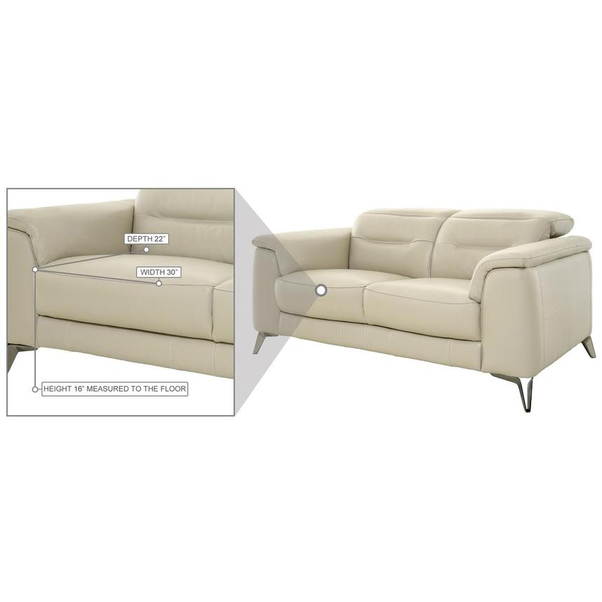 Anabel Cream Leather Loveseat  alternate image, 10 of 11 images.
