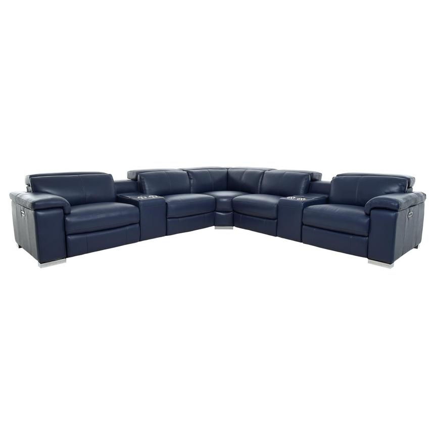Charlie Blue Leather Power Reclining Sectional  main image, 1 of 11 images.