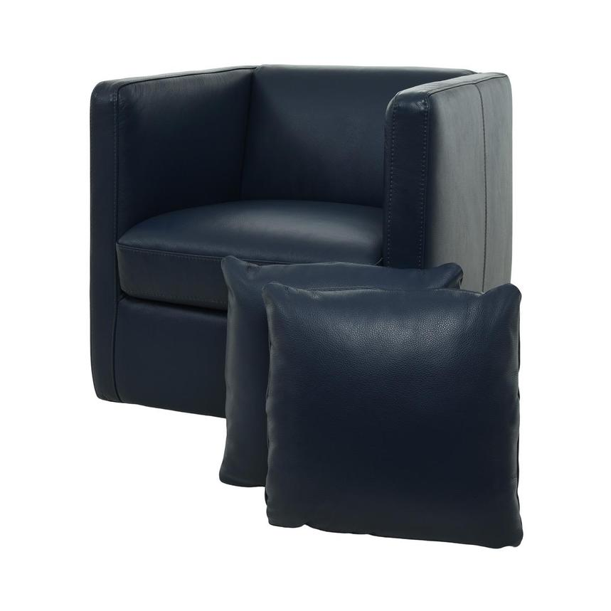 Cute Blue Leather Swivel Chair w/2 Pillows  main image, 1 of 11 images.