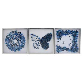 Farfalla Blue Set of 3 Shadow Boxes