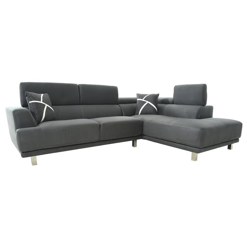 Ilias Gray Corner Sofa w/Right Chaise  alternate image, 2 of 10 images.