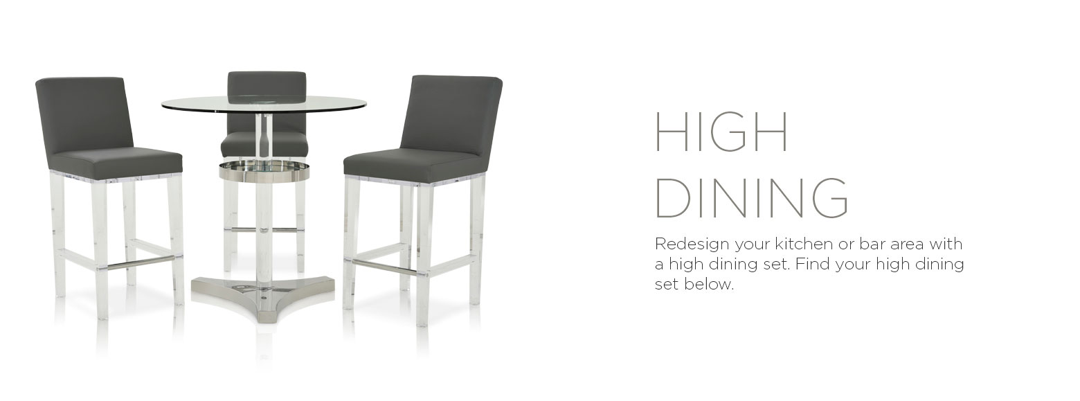 High dining. Redesign your kitchen or bar area with a high dining set. Find your high dining set below.