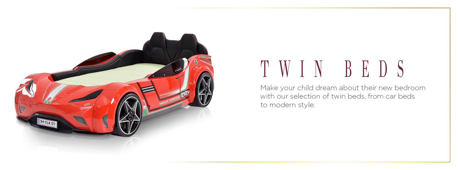 Twin Beds. Make your child dream about their new bedroom with our selection of twin beds, from car beds to modern style.